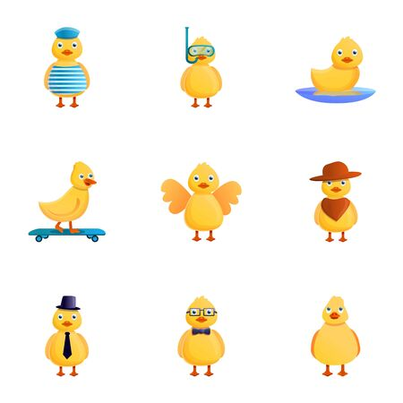 Funny yellow duck icon set. Cartoon set of 9 funny yellow duck icons for web design isolated on white background