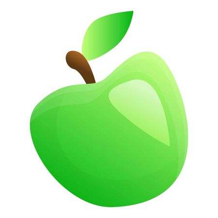 Green apple icon. Cartoon of green apple icon for web design isolated on white background