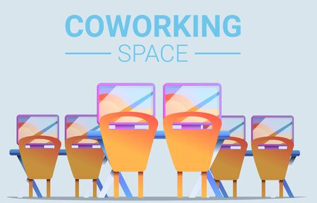 Coworking space concept banner. Cartoon illustration of coworking space concept banner for web design