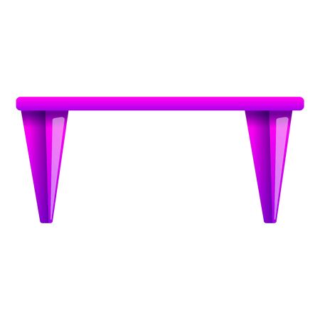 Pink table icon. Cartoon of pink table icon for web design isolated on white background