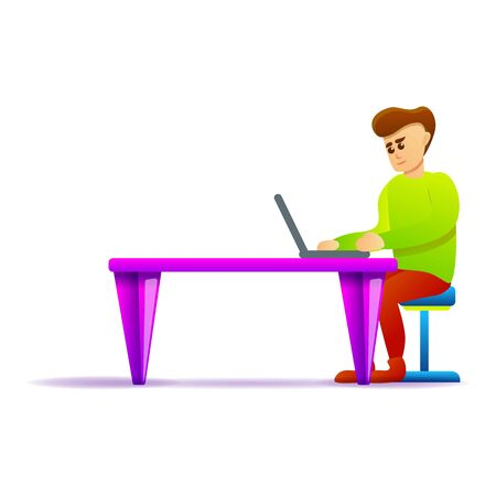 Man work laptop icon. Cartoon of man work laptop icon for web design isolated on white background