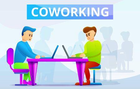 Coworking concept banner. Cartoon illustration of coworking concept banner for web design