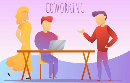 Office coworking concept banner. Cartoon illustration of office coworking concept banner for web design