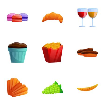 French national food icon set. Cartoon set of 9 french national food icons for web design isolated on white background 写真素材