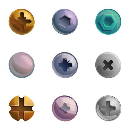 Screw bolt head icon set. Cartoon set of 9 screw bolt head icons for web design isolated on white background