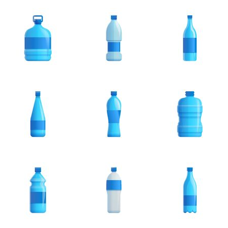 Water plastic bottle icon set. Cartoon set of 9 water plastic bottle icons for web design isolated on white background Stock fotó