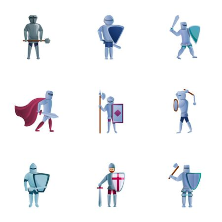 Medieval knights icon set. Cartoon set of 9 medieval knights icons for web design isolated on white background