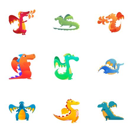 Reptile dragons icon set. Cartoon set of 9 reptile dragons icons for web design isolated on white background