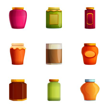 Fruit jam jar icon set. Cartoon set of 9 fruit jam jar icons for web design isolated on white background