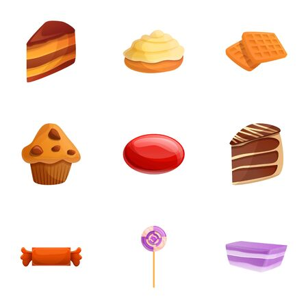 Candy sweets icon set. Cartoon set of 9 candy sweets icons for web design isolated on white background Banco de Imagens