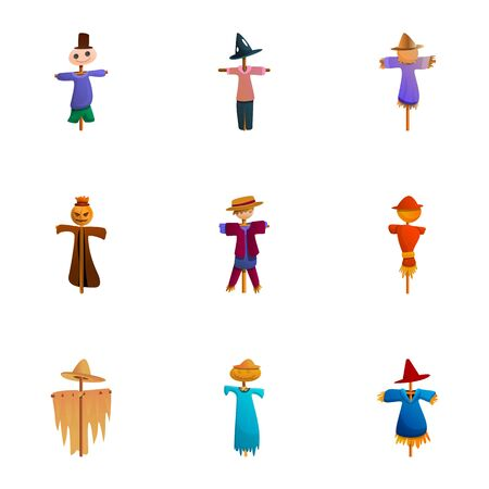 Farm scarecrow icon set. Cartoon set of 9 farm scarecrow icons for web design isolated on white background