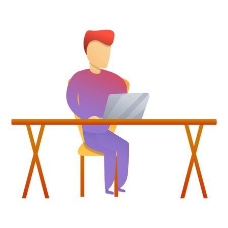 Man work laptop desk icon. Cartoon of man work laptop desk icon for web design isolated on white background