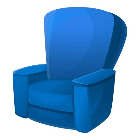 Blue armchair icon. Cartoon of blue armchair vector icon for web design isolated on white background
