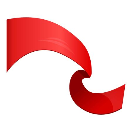 Red swirl ribbon icon. Cartoon of red swirl ribbon vector icon for web design isolated on white background