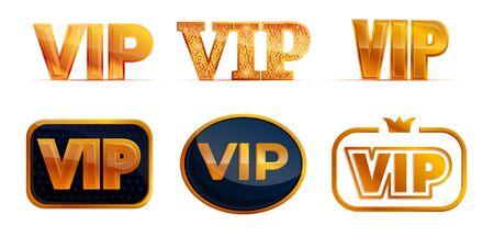 Vip icons set. Cartoon set of vip vector icons for web design Illustration