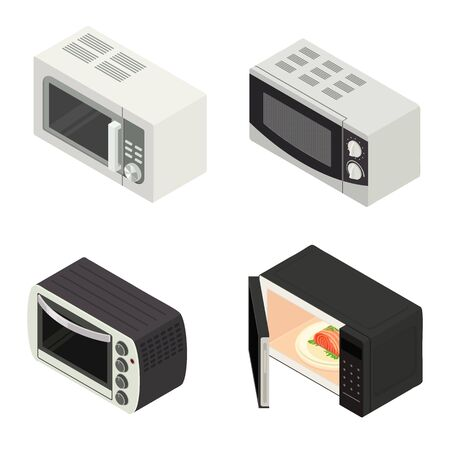 Microwave icons set. Isometric set of microwave vector icons for web design isolated on white background Illustration