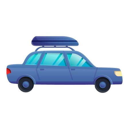 Blue travel car icon. Cartoon of blue travel car vector icon for web design isolated on white background  イラスト・ベクター素材
