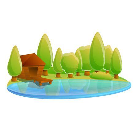 Wood house on lake icon. Cartoon of wood house on lake vector icon for web design isolated on white background Ilustração