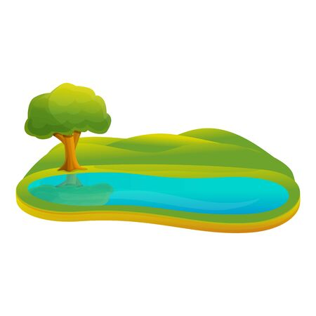 Small lake icon. Cartoon of small lake vector icon for web design isolated on white background