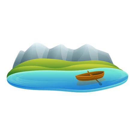 Lake wood boat icon. Cartoon of lake wood boat vector icon for web design isolated on white background
