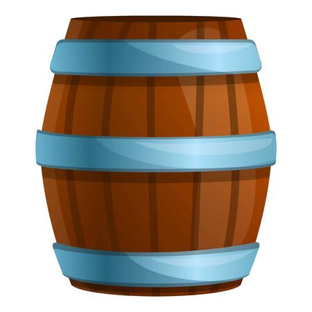 Wood barrel icon. Cartoon of wood barrel vector icon for web design isolated on white background  イラスト・ベクター素材