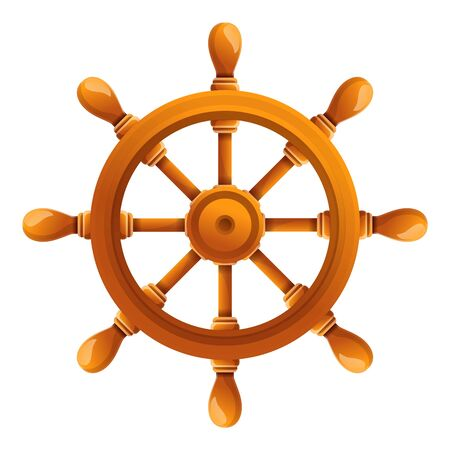 Ship steering wheel icon. Cartoon of ship steering wheel vector icon for web design isolated on white background