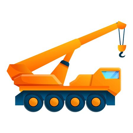 Ikona dźwigu pojazdu budowlanego. Kreskówka ikona wektor żurawia pojazdu budowlanego do projektowania stron internetowych na białym tle