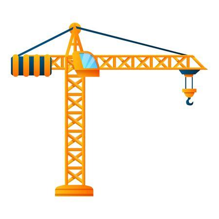 Ikona żurawia budowlanego. Kreskówka żurawia budowlanego wektor ikona do projektowania stron internetowych na białym tle