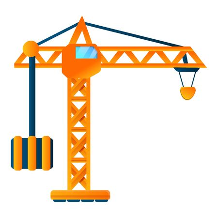 Sky construction crane icon. Cartoon of sky construction crane vector icon for web design isolated on white background
