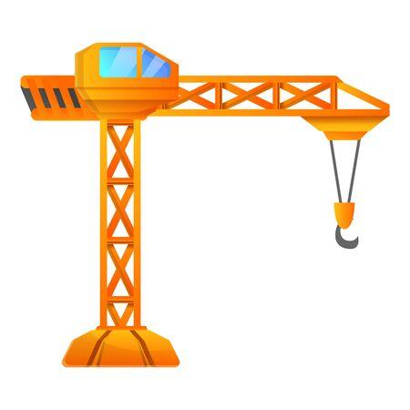 Orange crane icon. Cartoon of orange crane vector icon for web design isolated on white background