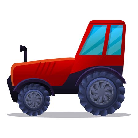 Red farm tractor icon. Cartoon of red farm tractor vector icon for web design isolated on white background  イラスト・ベクター素材