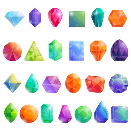 Jewel icons set. Cartoon set of jewel vector icons for web design Stock Illustratie