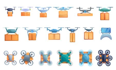 Drone delivery service icons set. Cartoon set of drone delivery service vector icons for web design