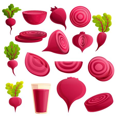 Beet icons set. Cartoon set of beet vector icons for web design