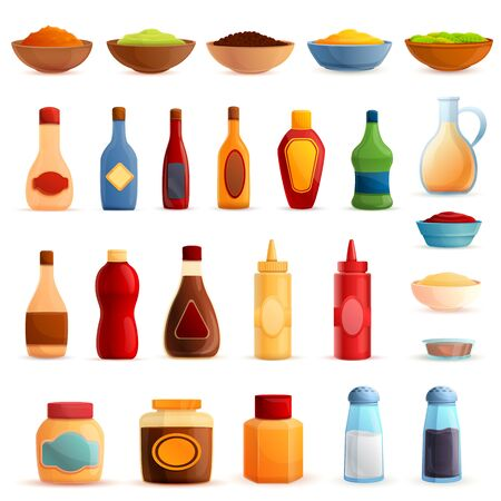 Condiment icons set. Cartoon set of condiment vector icons for web design