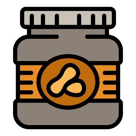 Peanut butter plastic jar icon. Outline peanut butter plastic jar vector icon for web design isolated on white background