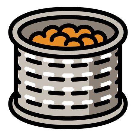Peanut tin can icon. Outline peanut tin can vector icon for web design isolated on white background Stock Illustratie