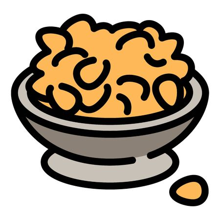Peanut bowl icon. Outline peanut bowl vector icon for web design isolated on white background Stock Illustratie