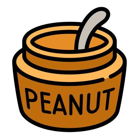 Peanut jar spoon icon. Outline peanut jar spoon vector icon for web design isolated on white background Stock Illustratie