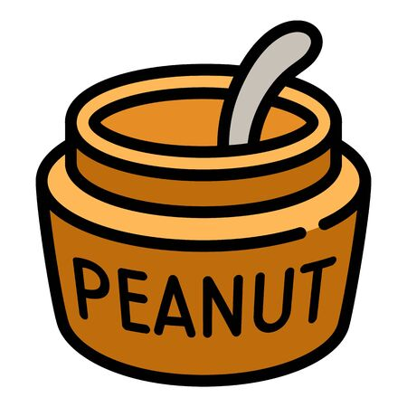 Peanut jar spoon icon. Outline peanut jar spoon vector icon for web design isolated on white background Illustration