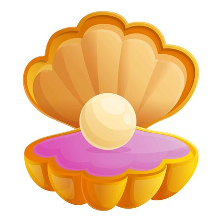 Pearl shell icon. Cartoon of pearl shell vector icon for web design isolated on white background  イラスト・ベクター素材