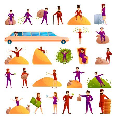 Millionaire icons set. Cartoon set of millionaire vector icons for web design  イラスト・ベクター素材
