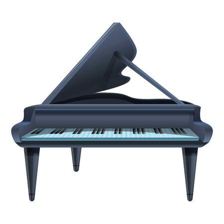 Black grand piano icon. Cartoon of black grand piano vector icon for web design isolated on white background