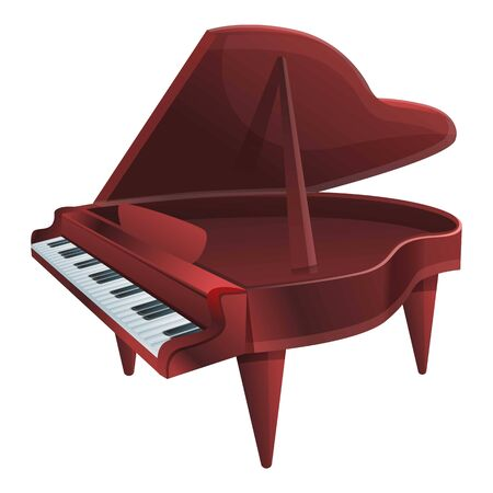 Brown grand piano icon. Cartoon of brown grand piano vector icon for web design isolated on white background