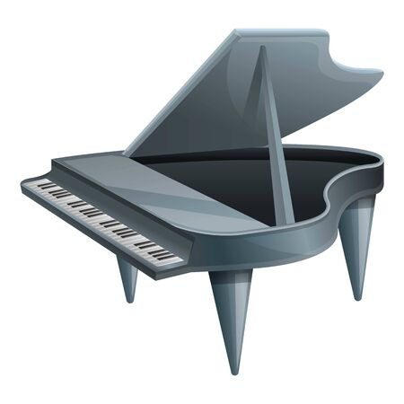 Grey grand piano icon. Cartoon of grey grand piano vector icon for web design isolated on white background