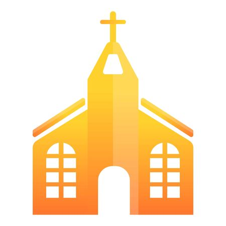Orange church icon. Cartoon of orange church vector icon for web design isolated on white background