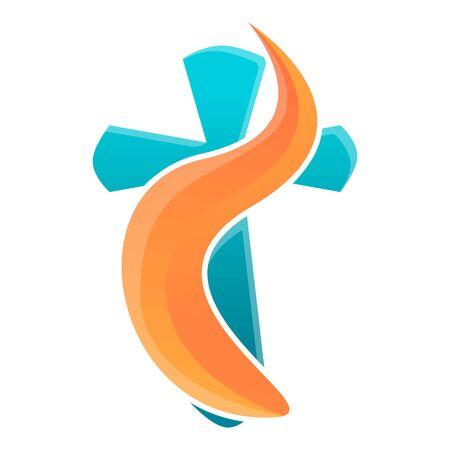 Blue orange cross icon. Cartoon of blue orange cross vector icon for web design isolated on white background
