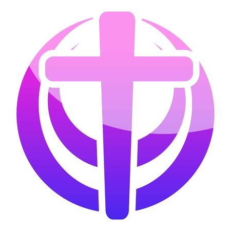 Violet circle church icon. Cartoon of violet circle church vector icon for web design isolated on white background Zdjęcie Seryjne - 133360362