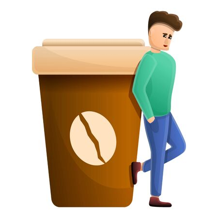 Hot coffee addiction icon. Cartoon of hot coffee addiction vector icon for web design isolated on white background