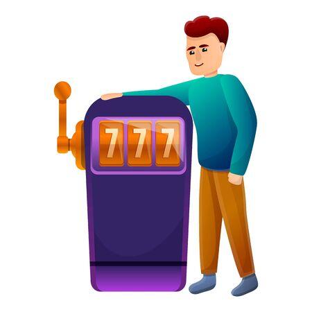 Casino slot machine addiction icon. Cartoon of casino slot machine addiction vector icon for web design isolated on white background
